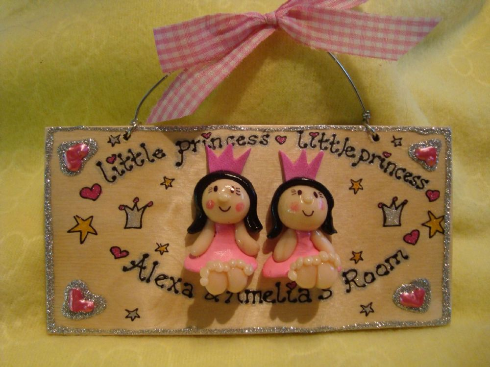 2 Characters 3d Princess Plaque Wooden Sign Handmade Customised to Order Unique Item Bedroom Playroom Playhouse